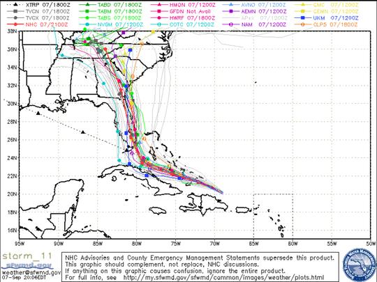 Tracking models for Hurricane Irma as of 8 p.m. Thursday,