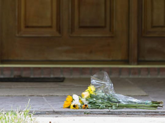 Flowers outside of Dan Markel's house Tuesday.