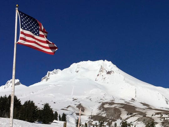 Oregon's Mount Hood is seen from Timberline Lodge on