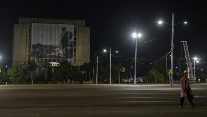 The National Library building has its facade covered by a picture of Cuban revolutionary leader Fidel Castro at Havana's Plaza of the Revolution.