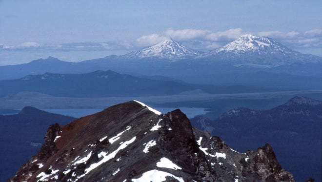At the summit of Diamond Peak you're rewarded with views of Three Sisters and Waldo Lake.