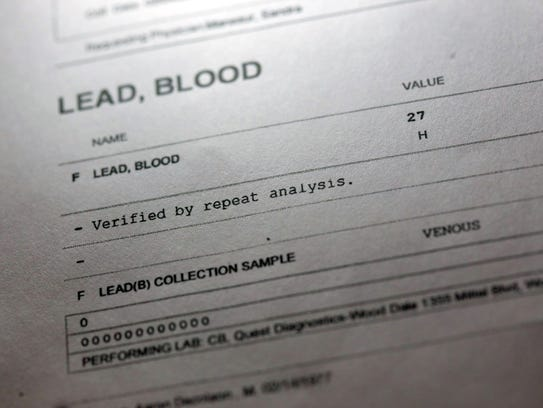 Blood lead level test results of Flint resident Aaron