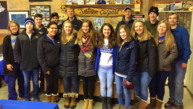 Members of St. Mary's Springs Academy JOOI Club visited the Siberian Outpost with students from Parkside Elementary School. Pictured are SMSA students, front row, from left: Tammi Burkart, Spenser Spranger, Berenice Carbajal, Lydia Immel, Kami Jaeger, Jordan Krupp, Megan McGalloway, Heather Braatz, Leah O'Loughlin and Adam Ringwell. Back row: Bennett Feudner, Brady Gagne, Alex Hoepfner, Mitch Waechter and Sam Koffman.