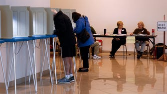 Wauwatosa residents vote at the James W. Pihos Cultural Center.