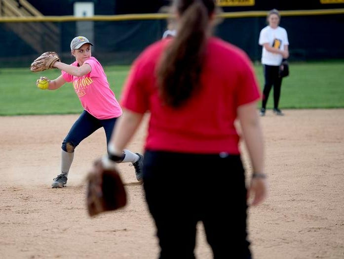 Heather Carver makes a throw during Tuscola softball practice on Thursday.