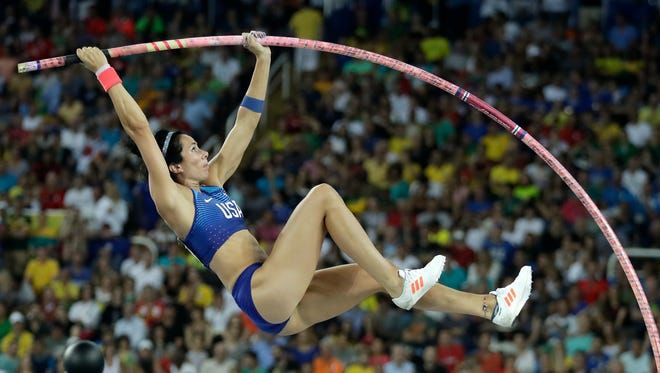 United States' Jennifer Suhr competes in the women's pole vault final, during the athletics competitions of the 2016 Summer Olympics at the Olympic stadium in Rio de Janeiro, Brazil, Friday, Aug. 19, 2016. (AP Photo/Matt Dunham)