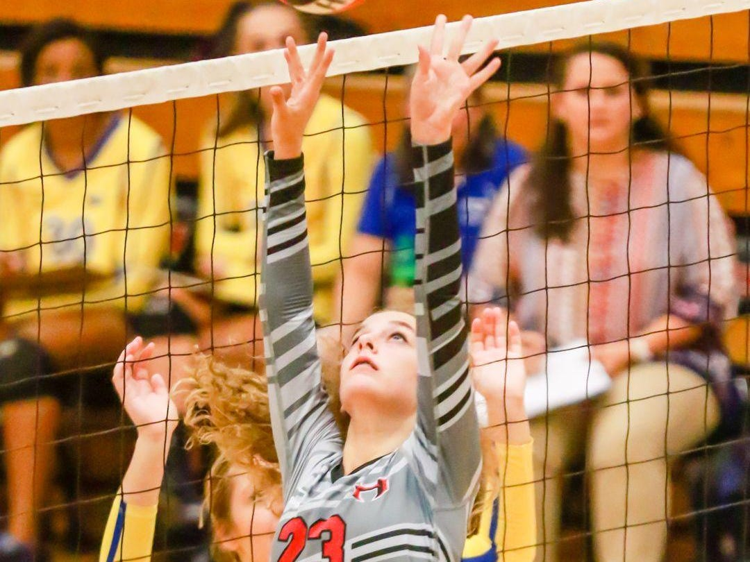 Sophomore Loftin Kohn (23) has come up from the junior varsity to fill in for one of the injured starting setters for Hillcrest this season.