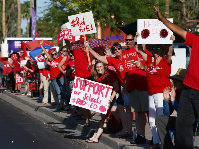 Arizona teachers protest along Baseline Road on April
