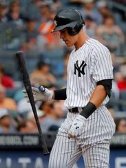 New York Yankees' Aaron Judge flips his bat after striking out against the Detroit Tigers during the third inning of a baseball game, Wednesday, Aug. 2, 2017, in New York. (AP Photo/Julie Jacobson)