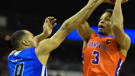 Evansville's Jaylon Brown shoots over Indiana State's