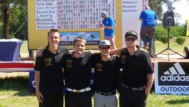 The Western Michigan University disc golf team (L-R): Jordan Snyder, Chase Tyre, Mitchell Wilson and Reid Frescura.