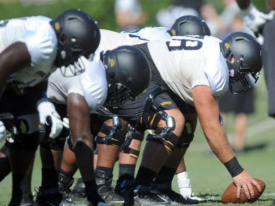 Southern Miss offensive lineman Devin Farrior works