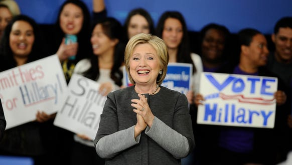Hillary Clinton speaks at a campaign event on Feb.