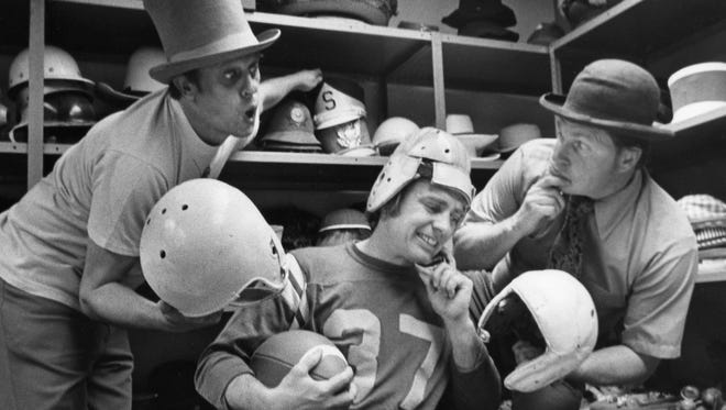 Ladmo (Ladimir Kwiatkowski), Pat McMahon and Wallace (Bill Thompson)  ham it up in the prop room at KPHO studios in 1974.