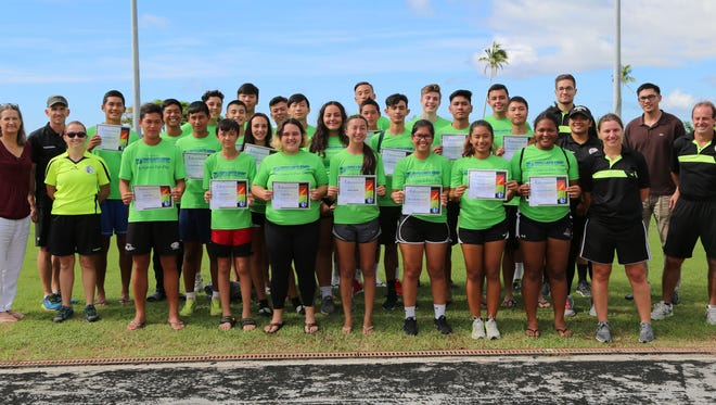 Youth referees pose for a group photo after completing the first-ever Guam Football Association Youth Referee Camp held Saturday at the LeoPalace Resort Guam.