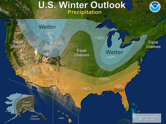 U.S. Winter Outlook for precipitation