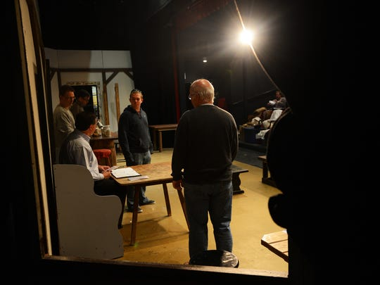 """Actors rehearse a scene from the North Street Playhouse's version of """"The Bare & The Cubbe"""" on Thursday, April 23, 2015. The original play is the first performed in English in North America at Fowke's Tavern in nearby Pungoteague, Va in 1665."""