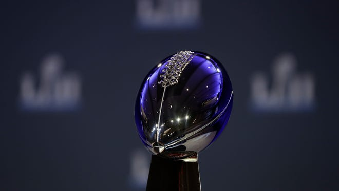 The Vince Lombardi Trophy is seen before a news conference by Commissioner Roger Goodell in advance of the Super Bowl 52 football game, Wednesday, Jan. 31, 2018, in Minneapolis.