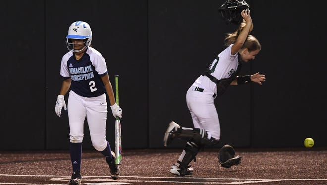Steinert vs. Immaculate Conception in The Tournament of Champions finale at Seton Hall University on Friday, June 8, 2018. IC #2 Brittany Santiago strikes out in the seventh inning to end the game. S #20 Alex Haley celebrates.
