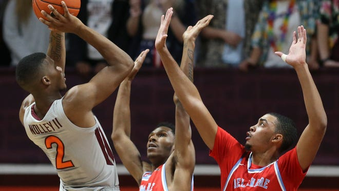 Virginia Tech's Landers Nolley II, right, has made 37-3 pointers already this season.