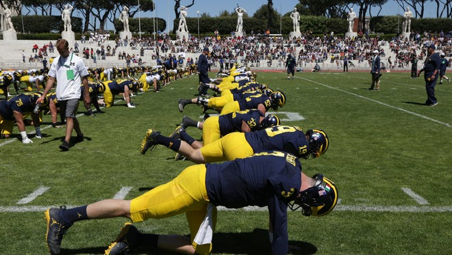 The University of Michigan football team held its last practice at Stadio dei Marmi in Rome on Saturday, April 29, 2017.