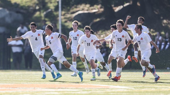 Mamaroneck's Cole Dicicco, 5, celebrates their only