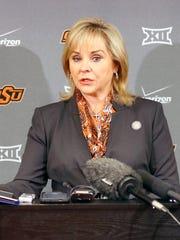 Oklahoma Governor Mary Fallin speaks to the media in