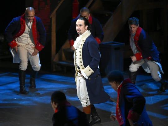 "Lin-Manuel Miranda and the original cast of ""Hamilton"" performing at the Tony Awards at the Beacon Theatre in New York."