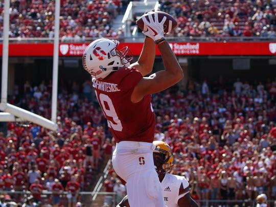 Stanford Cardinal wide receiver JJ Arcega-Whiteside (19) catches the football for a touchdown against the Arizona State Sun Devils during the second quarter at Stanford Stadium.
