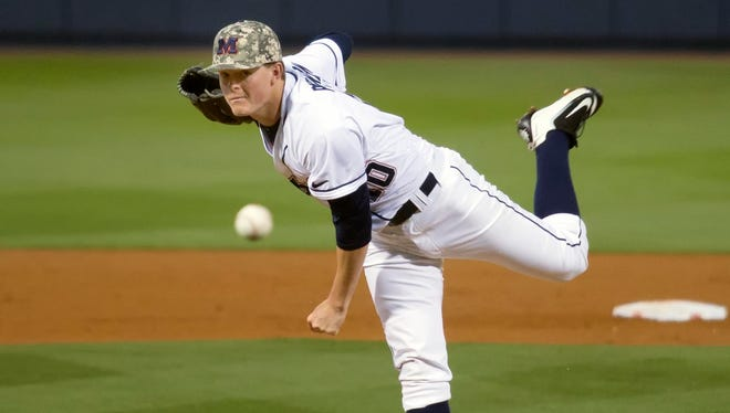 Starting pitcher David Parkinson threw a career-high 5 1/3 innings against Arkansas on Saturday night.