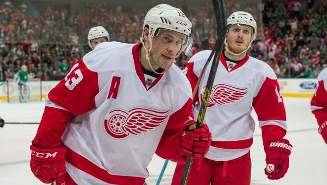 Detroit Red Wings center Pavel Datsyuk (13) skates off the ice during the third period against the Dallas Stars.