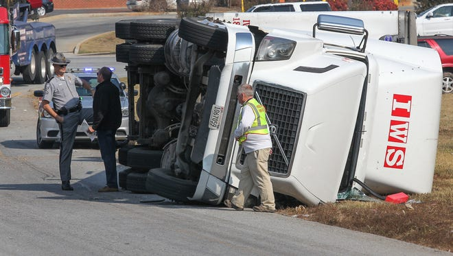 A tractor-trailer overturned Tuesday at about 11 a.m. on the ramp leading to the S.C. 28 Bypass off Clemson Boulevard.