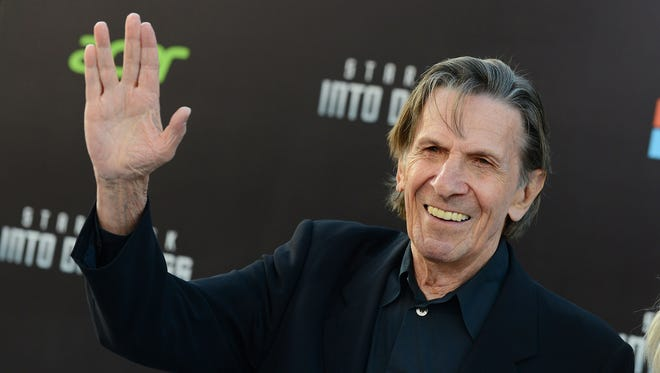 """In this May 14, 2013, file photo, Leonard Nimoy arrives at the LA premiere of """"Star Trek Into Darkness"""" at The Dolby Theater in Los Angeles. Nimoy, famous for playing officer Mr. Spock in """"Star Trek"""" died Friday, Feb. 27, 2015 in Los Angeles of end-stage chronic obstructive pulmonary disease. He was 83. (Photo by Jordan Strauss/Invision/AP, File)"""