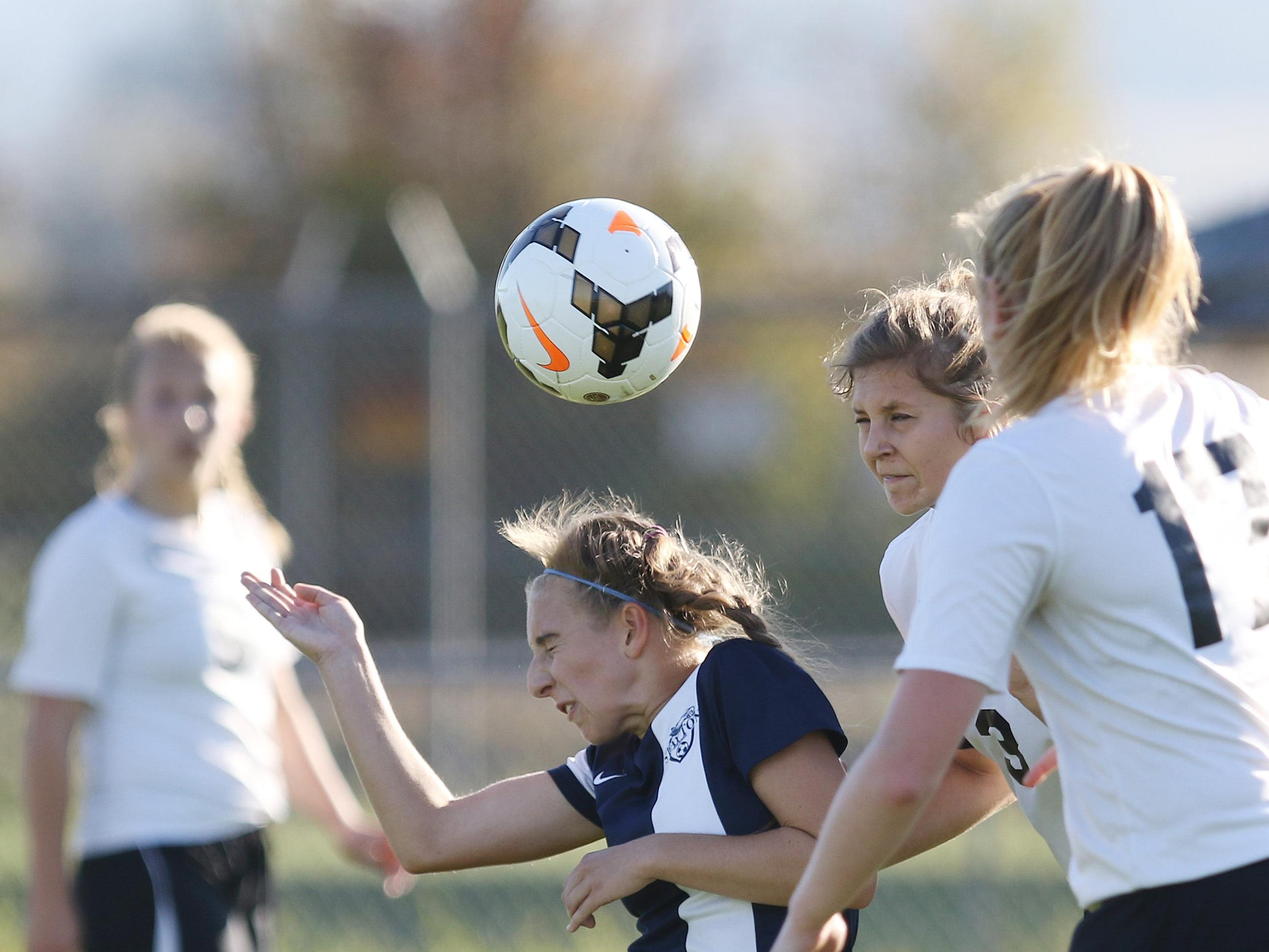 Stayton's Alexus Hemphill heads the ball as Stayton falls to Cascade 2-1 in an Oregon West Conference game Thursday in Turner.