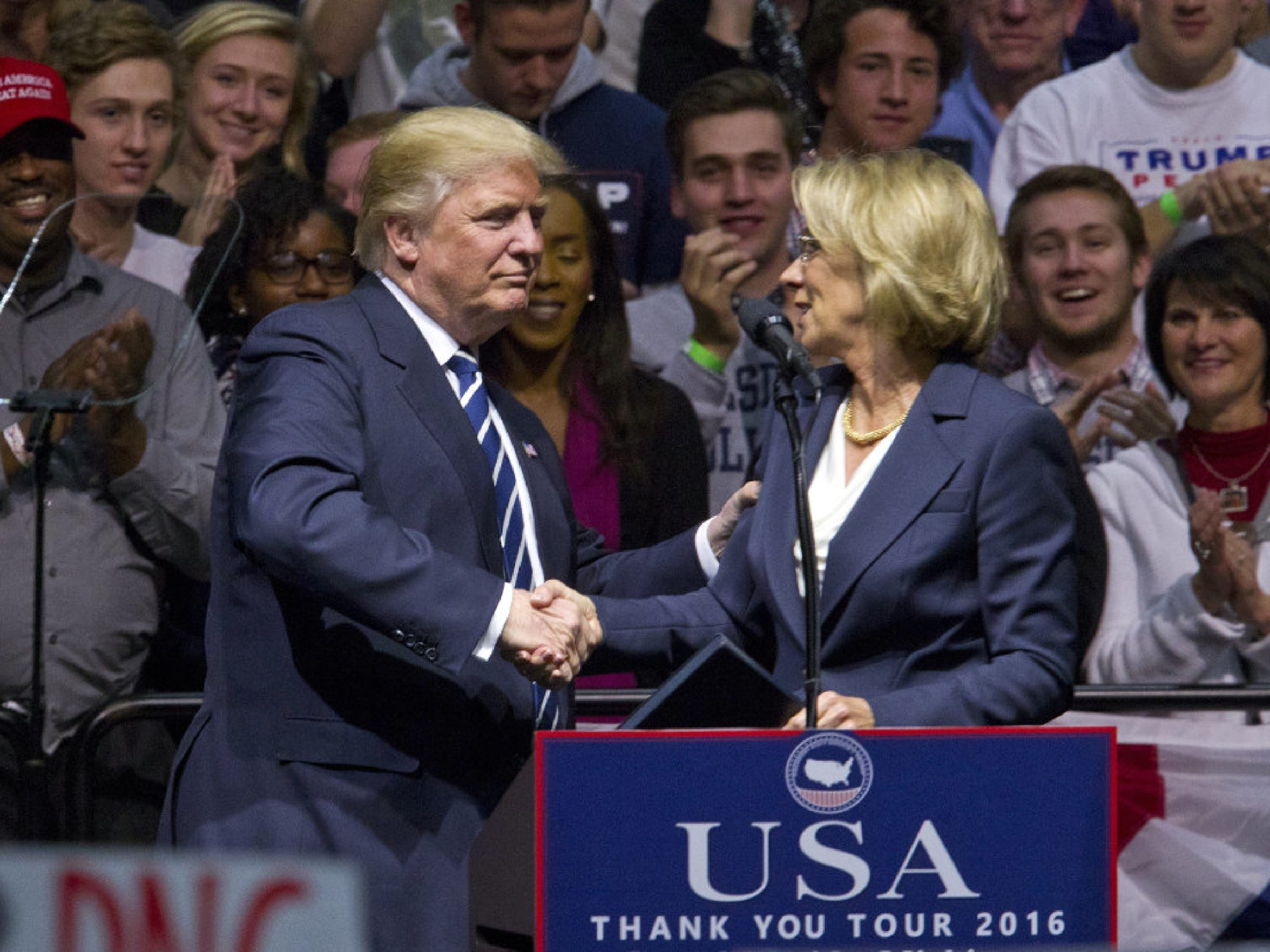 President-elect Donald J. Trump with Betsy DeVos, his