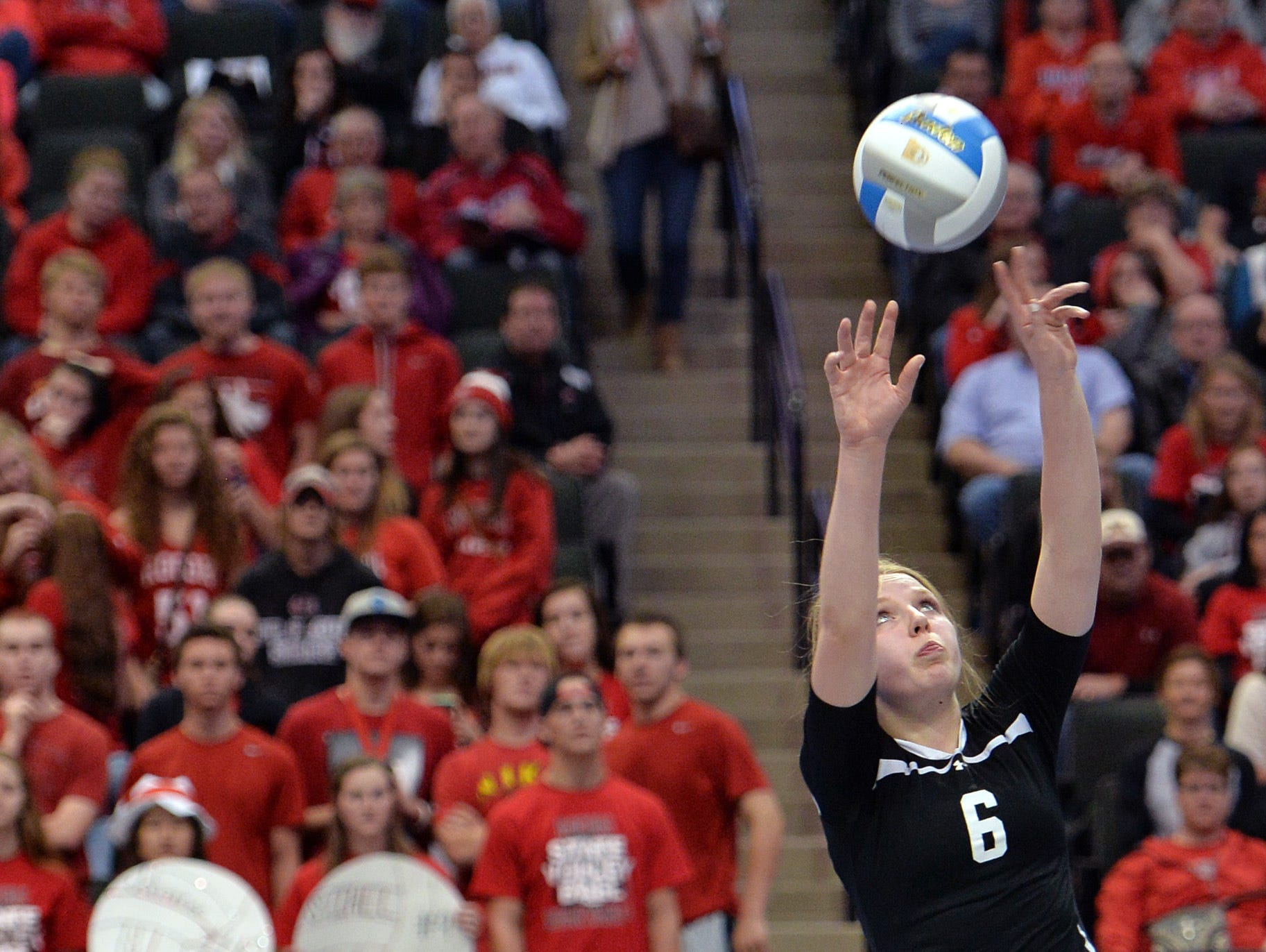 Rocori sophomore Eleanor Holthaus prepares to the set the ball in a Class 2A state quarterfinal win over Morris/Chokio-Alberta on Nov. 12. The sophomore has been named the 2015 Times' All-Area player of the year.