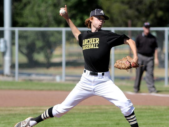 Archer City's Conner Byrd pitches against Seymour Monday,