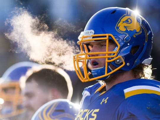 The breath of South Dakota State players on the bench