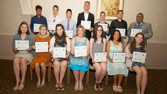 Fourteen of the 17 students from the Vineland area who were awarded a collective $22,500 in scholarships by the Vineland Rotary Club on June 6 during the club's annual scholarship and recognition event.