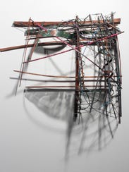"""""""Hurricane Shelter #2"""" - wood, wire, graphite, and"""
