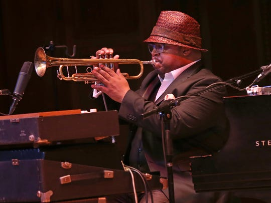 Nicholas Payton plays the trumpet surrounded by keyboards during his opening number of the night at Kilbourn Hall in 2016.