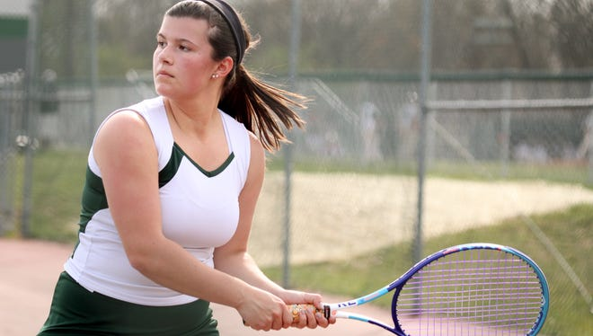 Wilson Memorial's Caitlin Phillips plays a singles match against Page County at Wilson Memorial High School in Fishersville on Tuesday, April 19, 2016.