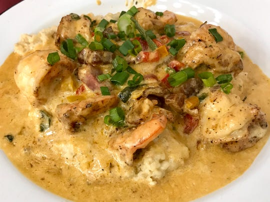 Florida Pink Shrimp and grits with a pepper pan sauce ($16.50) at The Rooster.