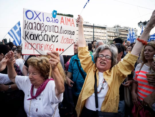 Demonstrators during a rally  in Athens, Greece, 29