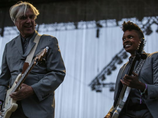 Apr 21, 2018; Indio, CA, USA; David Byrne performs during the Coachella Valley Music and Arts Festival at Empire Polo Club. Mandatory Credit: Richard Lui/The Desert Sun via USA TODAY NETWORK