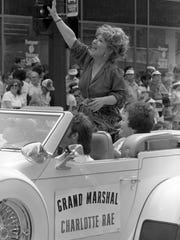 """Charlotte Rae, star of TV's """"The Facts of Life"""" and a Milwaukee native, waves to the crowd as the grand marshal of the first City of Festivals Parade on June 26, 1983. This photo was published in the June 27, 1983, Milwaukee Journal."""