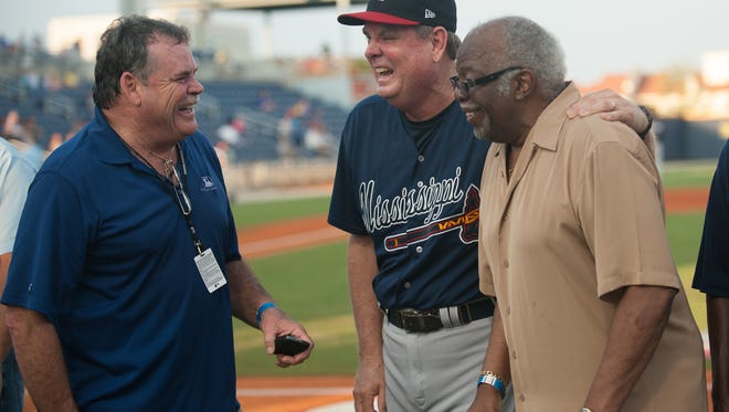 Johnny Joe Lewis, right, joins with Dennis Lewallyn (center) and Kevin Saucier in being honored by the Pensacola Blue Wahoos in 2013.