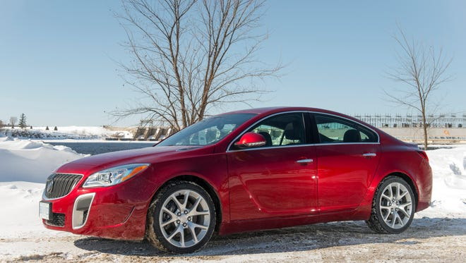 Regal sedan is a strong seller for GM's Buick brand, especially attractive this winter because of the Regal's optional all-wheel drive. GS AWD model is shown here Quebec, Canada.