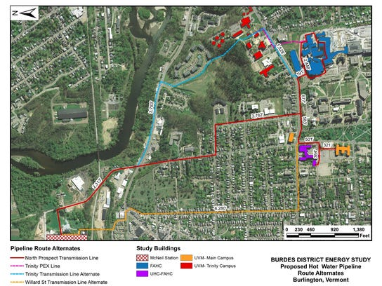 Mapped: One of several proposed routes for hot water