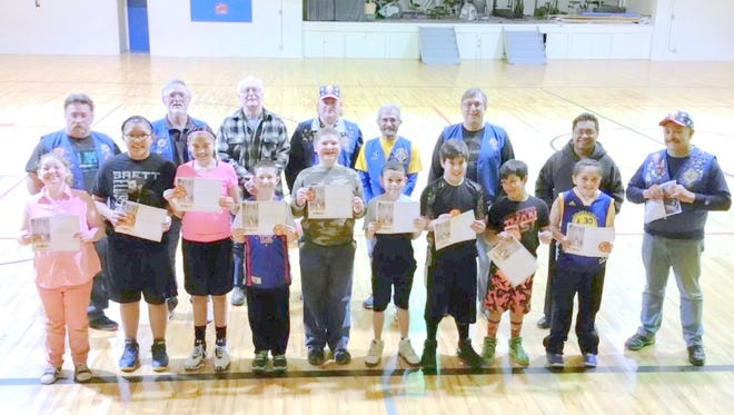Free throw contest winners and participants are from left, Brook Beier 9 year old winner; Aubryn Shendo, 12 year old winner;  Bianca Artiaga 12 year old; Luke Ordorica, 9 year old; Cayden Beier, 11 year old; Omari Clemins 9 year old winner; Phillip Garcia 11 year old winner; Edward Garcia 10 year old winner; and Jade Artiaga, 9 year old.